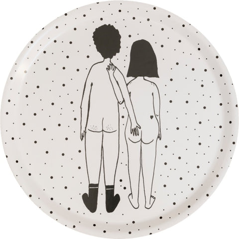 dienblad rond naked couple back