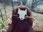 Cat Skull Leather Hair Slide