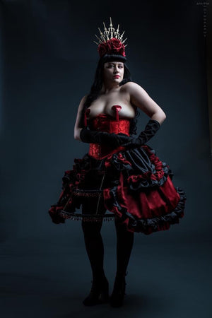 Blood Red & Black Cage Hoop Skirt & Bustle