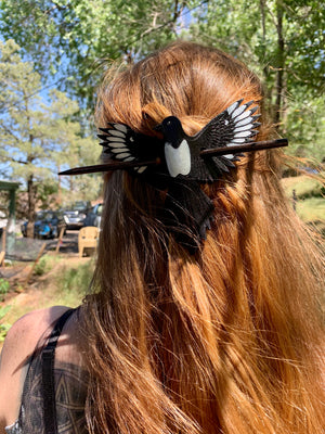 Mini Magpie Hair Slide with Metallic Pearl