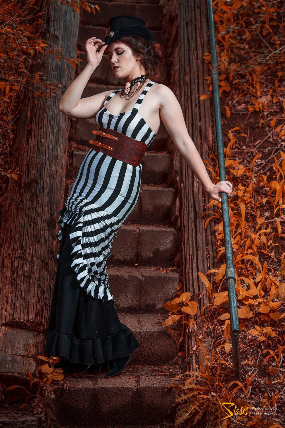 Black & White Stripped Gathered Dress
