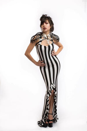 Black & White Stripped Long High Low Dress