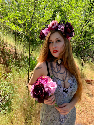 Purple Flower Crown and Black Lace Cat Ears