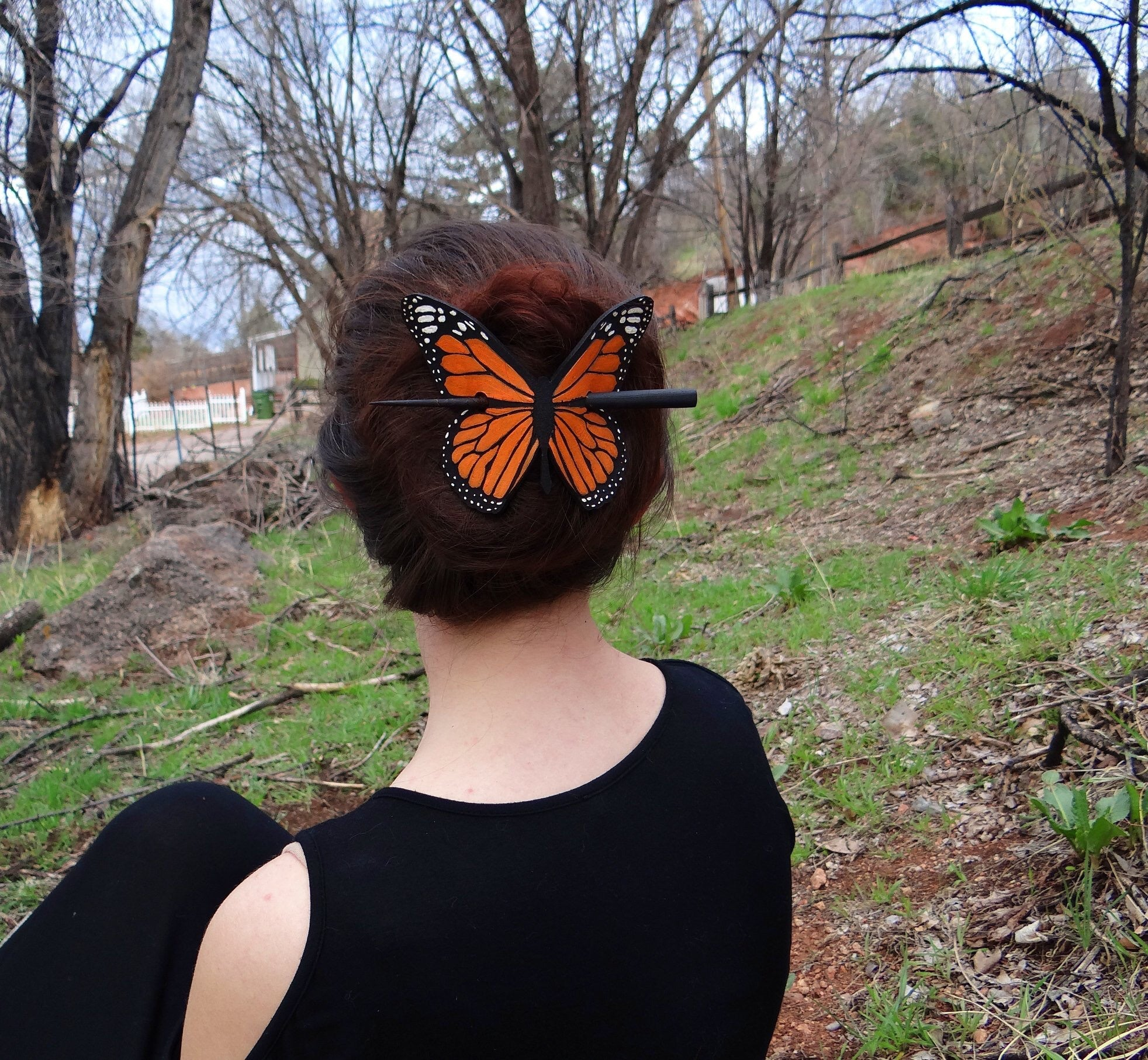 Monarch Butterfly Leather Hair Slide
