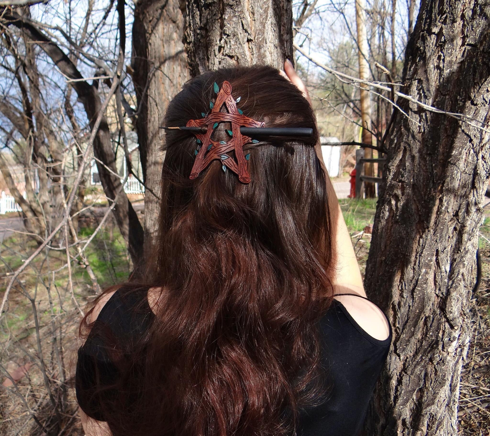 Green Witch Pentagram Leather Hair Slide