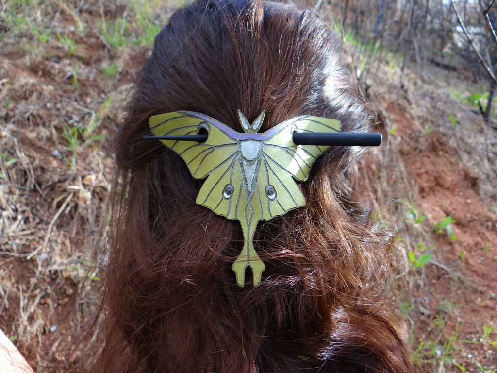 Luna Moth Leather Hair Slide