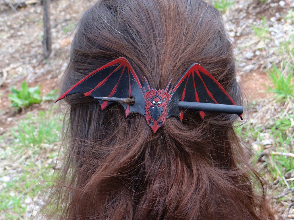Red Bat Leather Hair Slide