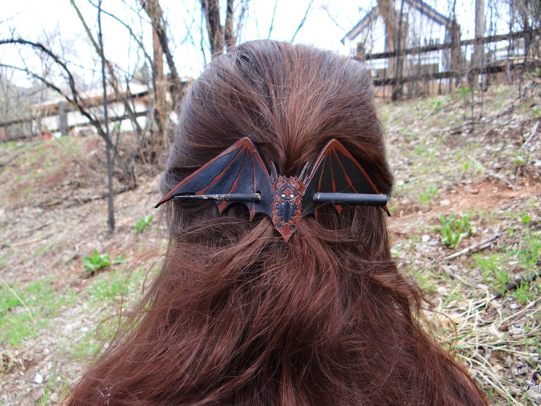 Brown Bat Leather Hair Slide