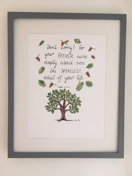 Don't Worry Oak Tree (Original) Framed
