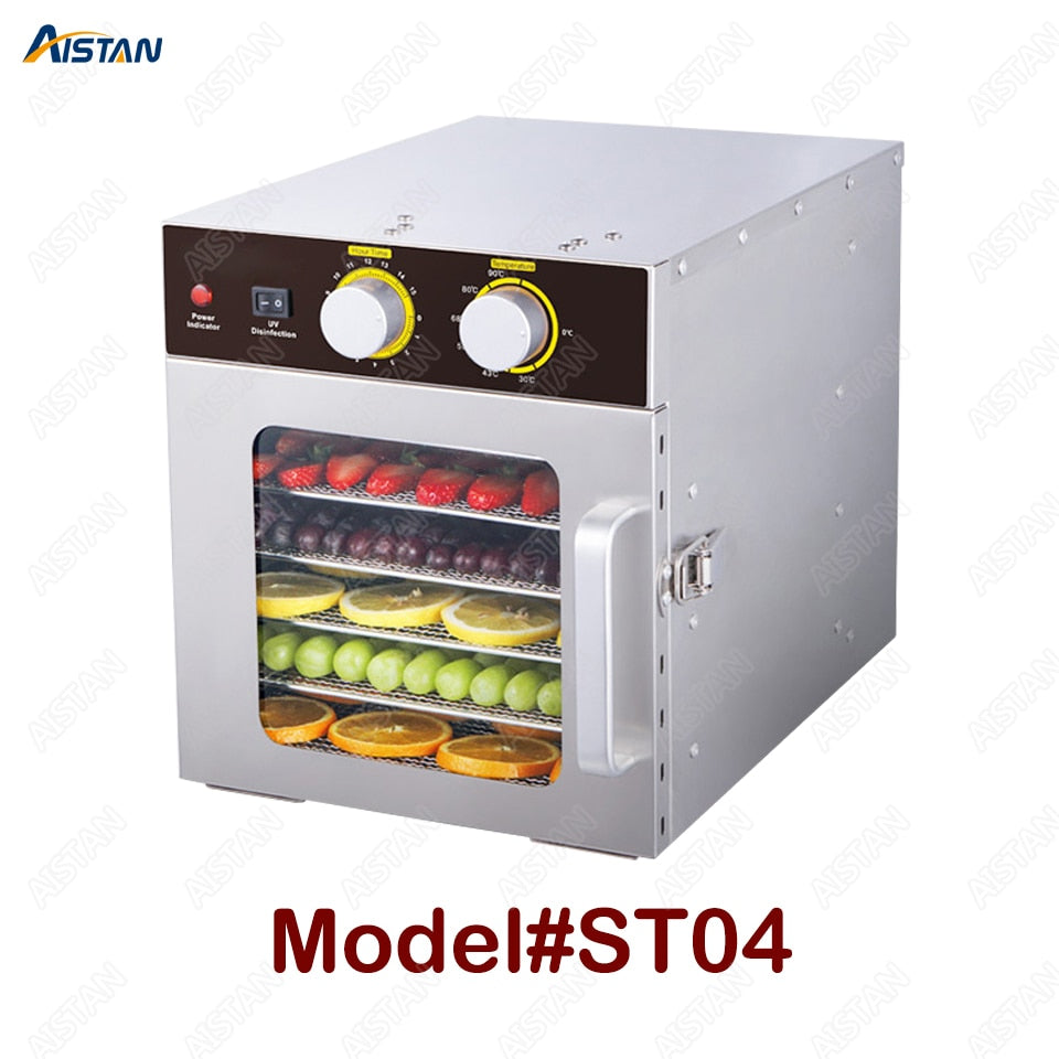 ST04 Electric Food Dryer Fruits Dehydrator Machine 220V 110V Food Dehydrator Stainless Steel 6 Trays with timer temp. control