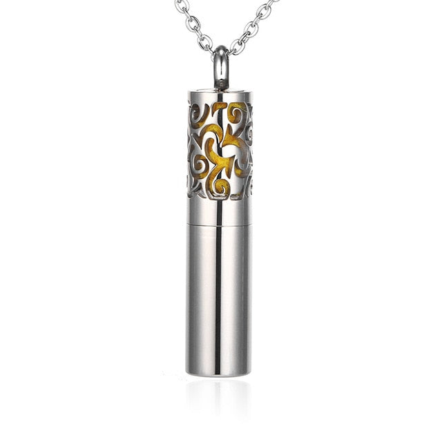 Essential Oil Container Pendant Necklace Stainless Steel Whistle Necklace Aromatherapy Diffuser Locket Men Women