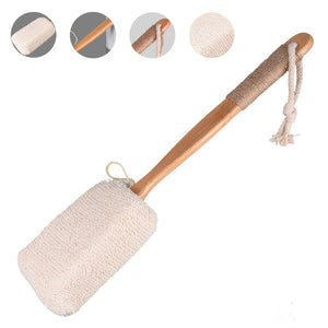 Bath Brush Back Scrubber Shower Body Massage Sponge Dry Skin Long Handle Non Slip Bathroom Wood Hemp Exfoliating Spa Cleaning