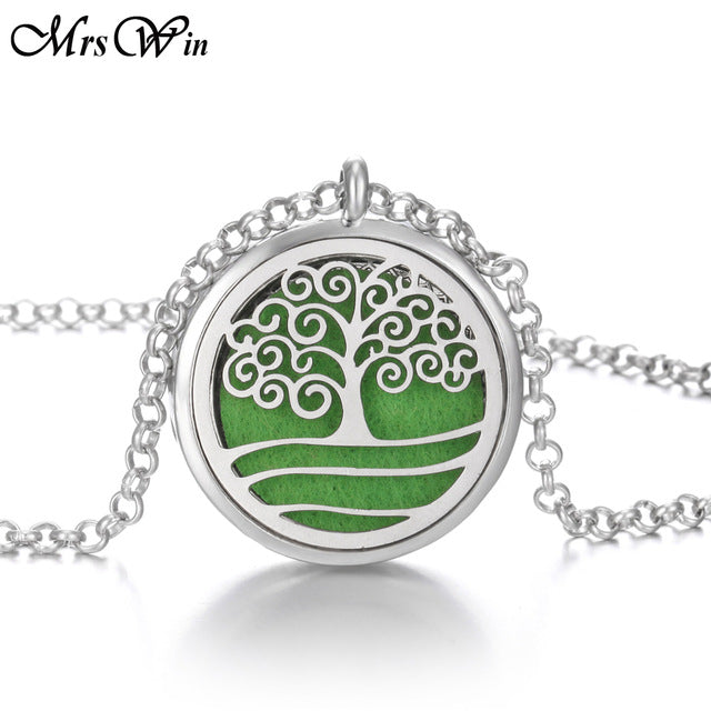 New Tree of Life Aromatherapy Necklace Stainless Steel Open Perfume Locket Essential Oils Diffuser Necklace Aroma Jewelry