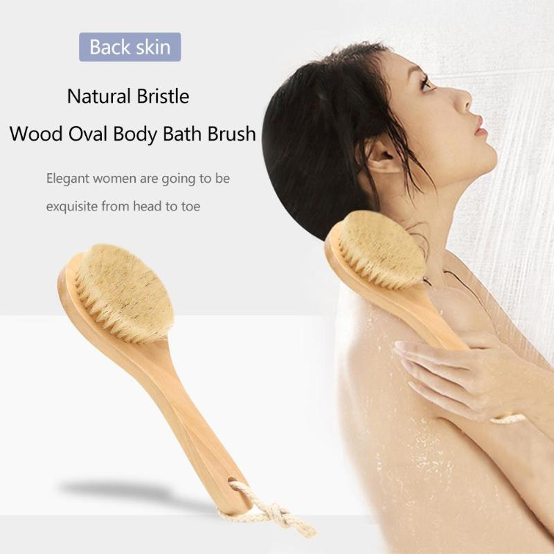 Bath Body Brush Natural Bristle Wood Oval Skin Body Bath Brush SPA Shower Massage Exfoliate Scrubber for Dry Brushing and Shower