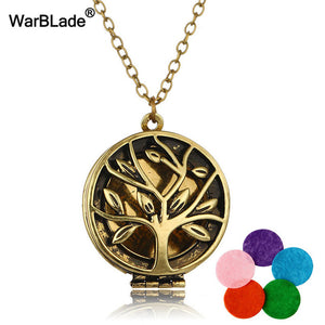 WarBLade Vintage Tree Of Life Photo Frames Necklace Aromatherapy Locket Pendant Perfume Essential Oil Diffuser Necklace For Gift