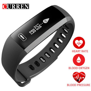 CURREN Smart Band Heartrate Blood Pressure Oxygen Oximeter Sport Bracelet Clock Watch Inteligente Pulso For iOS Android Men