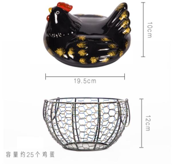 Fun black hen modeling kitchen egg storage box Creative chicken iron basket storage box
