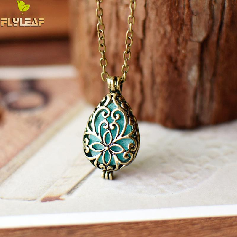 Flyleaf Vintage Hollow Carving Flower Necklaces & Pendants For Women Essential Oil Aromatherapy Retro Jewelry
