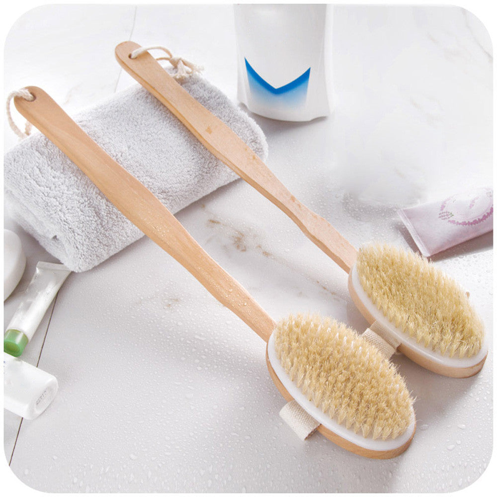 Long Wooden Handle Bath Body Brush Boar Bristles Exfoliating Body Massager Skin Cleaning Brush with for Dry Brushing and Show L4