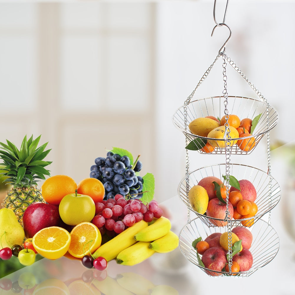 Creative Hanging Fruit Basket Stainless Steel 3-Layer Baskets Fruit Tray Drain Basket Household Fruit Bowl Storage Basket