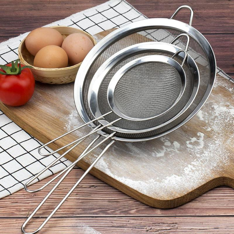 Stainless Steel Fine Mesh Wire Oil Skimmer Strainer Flour Colander Sieve Sifter Kitchen Cooking Tool