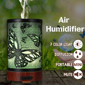 Butterfly Pattern Air Humidifier Essential Oil Diffuser Iron Art Humidificador Mist Maker LED Lamp Diffuser Aromatherapy US Plug