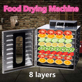 8 Trays Food Dehydrator Snacks Dehydration Dryer Fruit Vegetable Herb Meat Drying Machine Stainless Steel Food Dryer