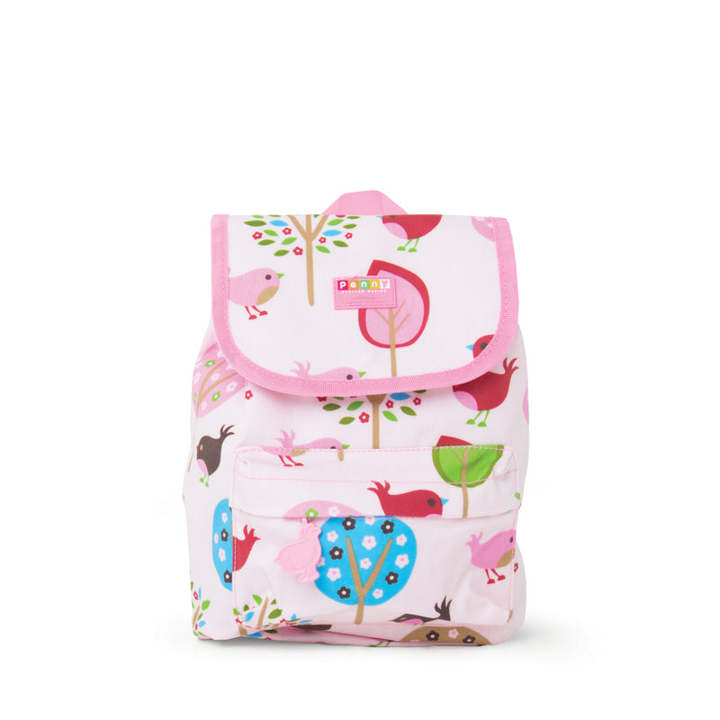 Kids Toploader backpack with chirpy bird pattern