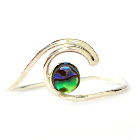 Abalone Shell Wave Ring