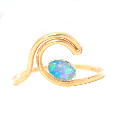 Rainbow Opal Wave Ring