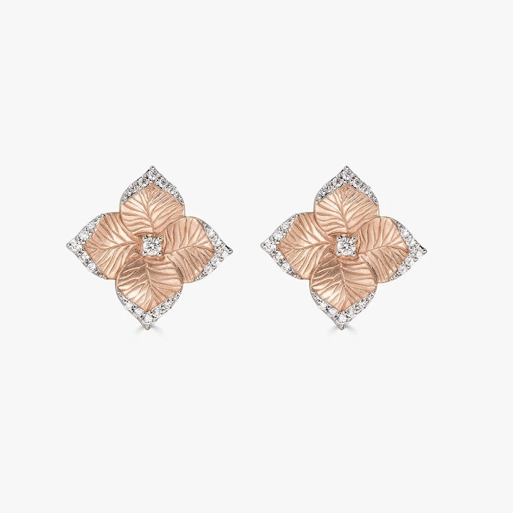 Oro Small Flower Earrings with Diamonds in 18K Rose Gold