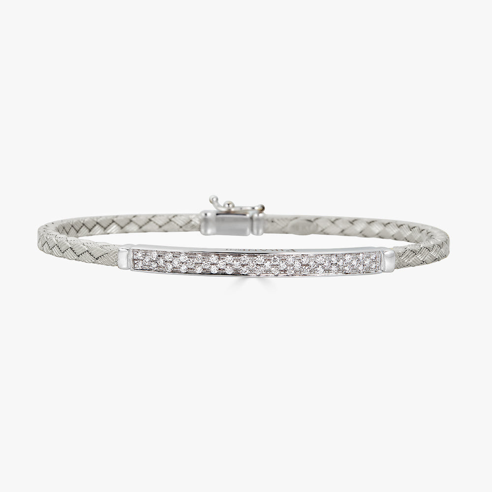 Oro Braided Bracelet in 18K White Gold