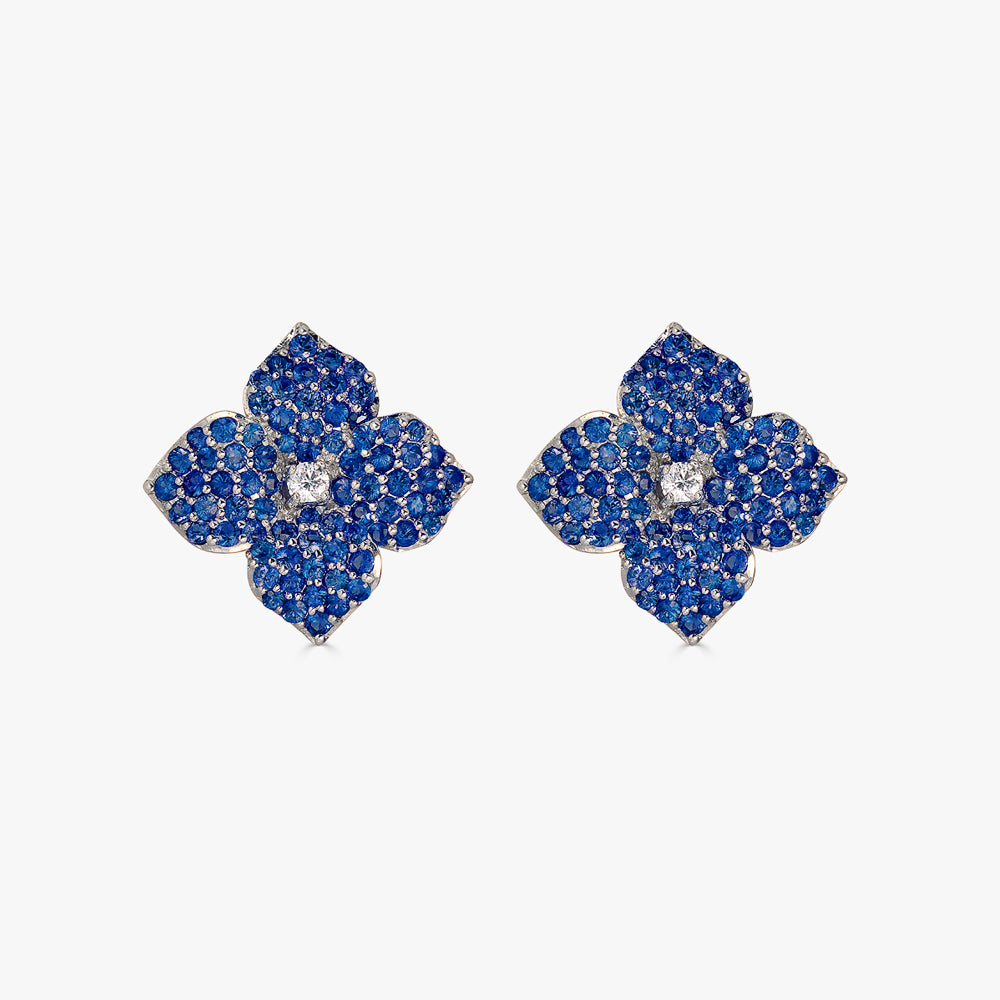 Mosaique Small Flower Earrings in Blue Sapphire