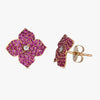 Mosaique Small Flower Earrings in Deep Pink Sapphire
