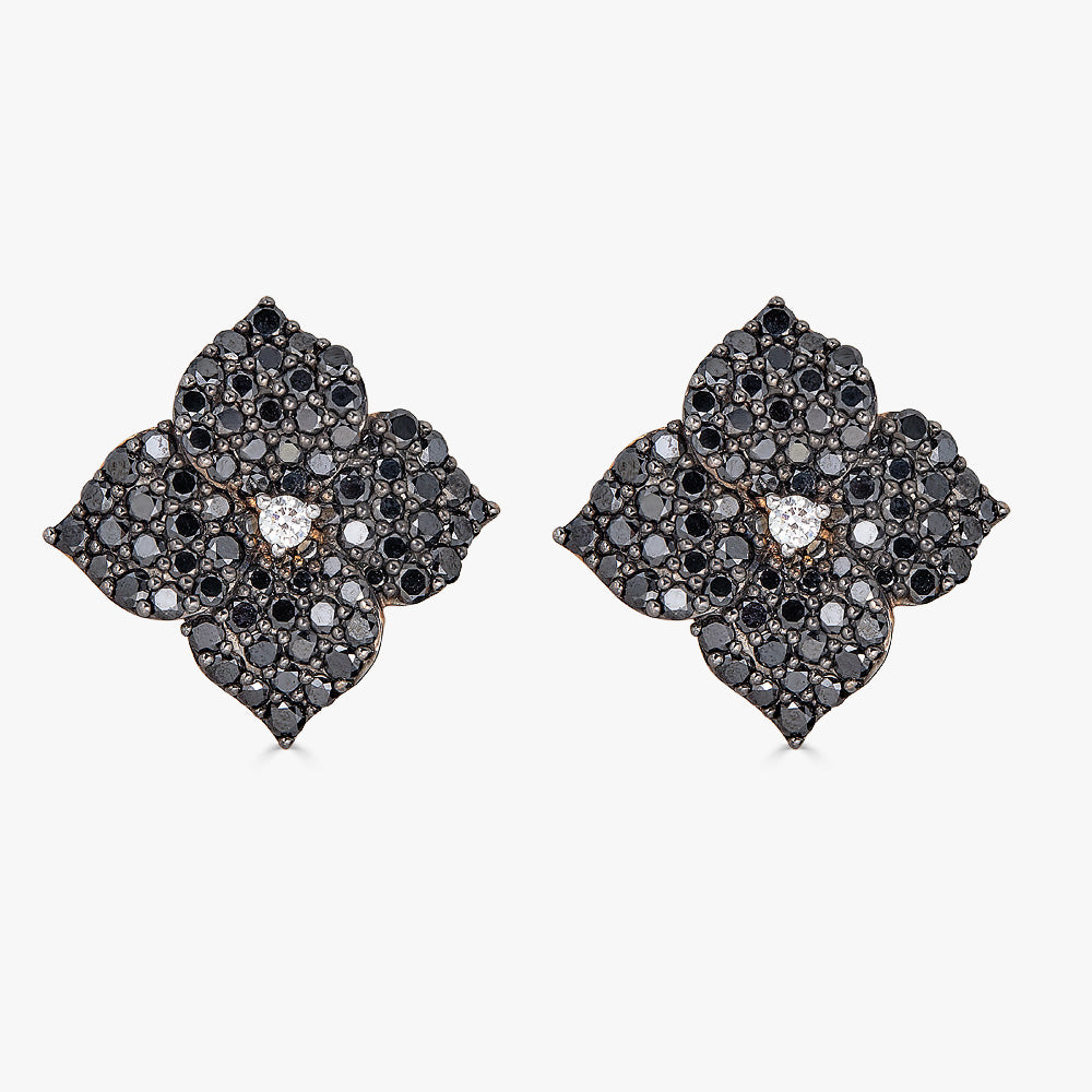 Mosaique Large Flower Earrings in Black Diamond
