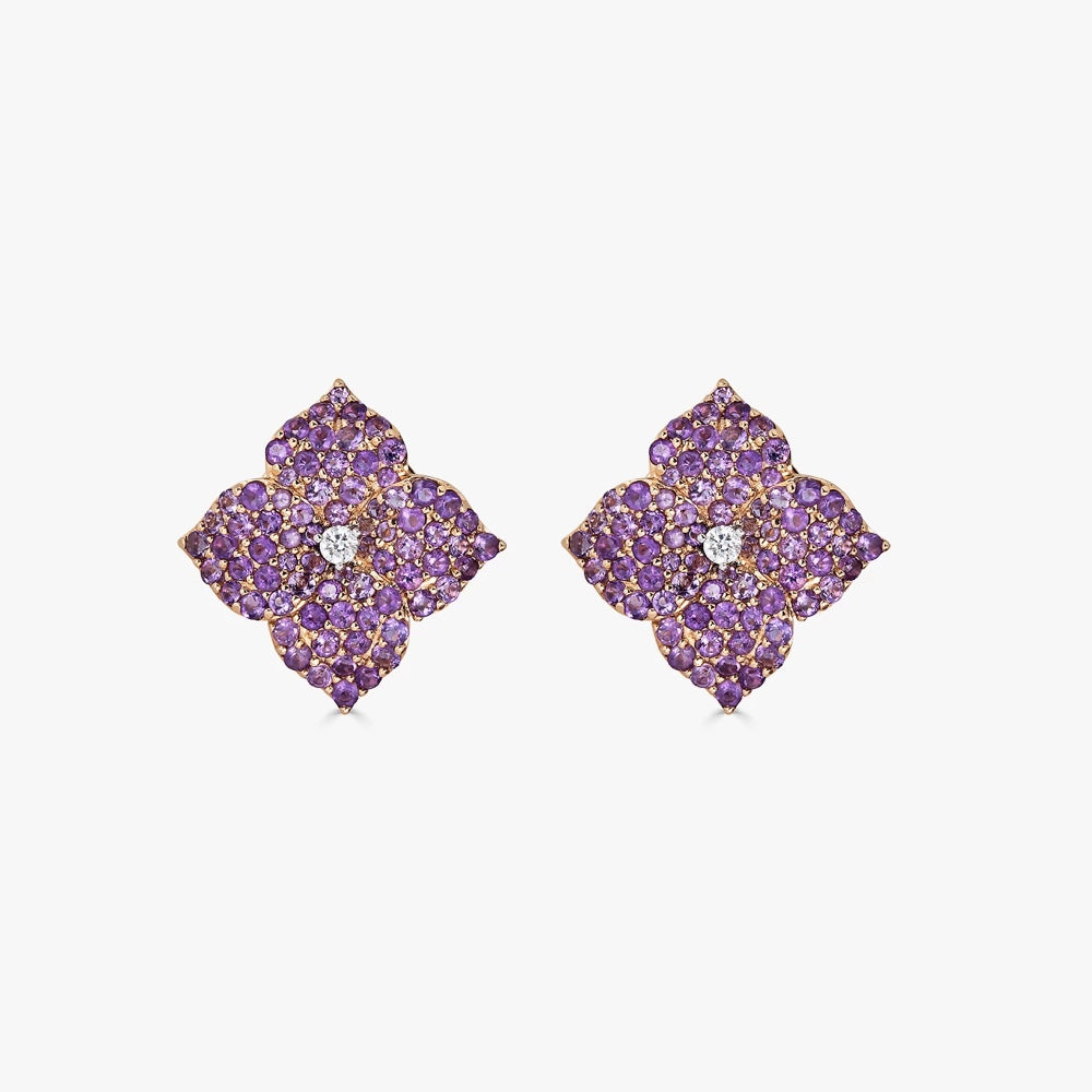 Mosaique Small Flower Earrings in Amethyst