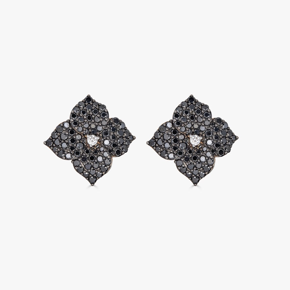 Mosaique Small Flower Earrings in Black Diamond