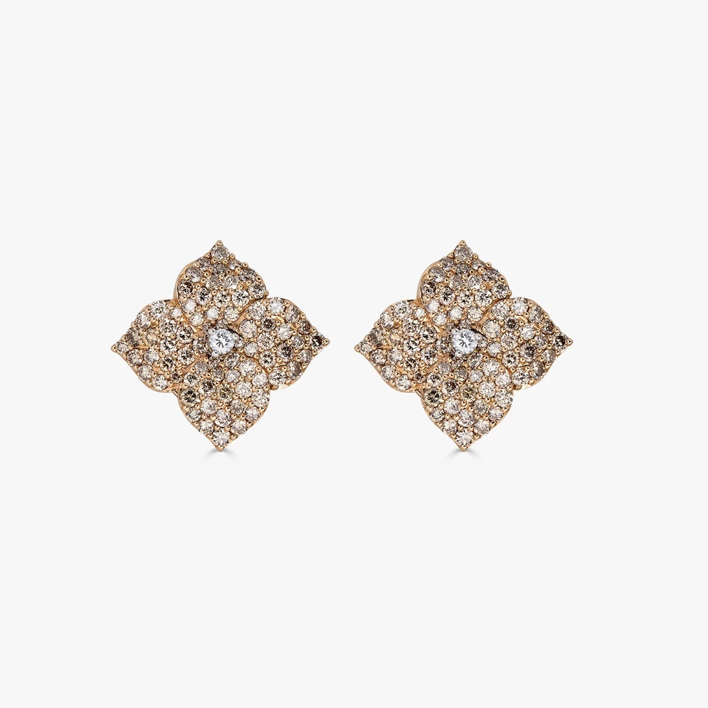 Mosaique Small Flower Earrings in Champagne Diamond