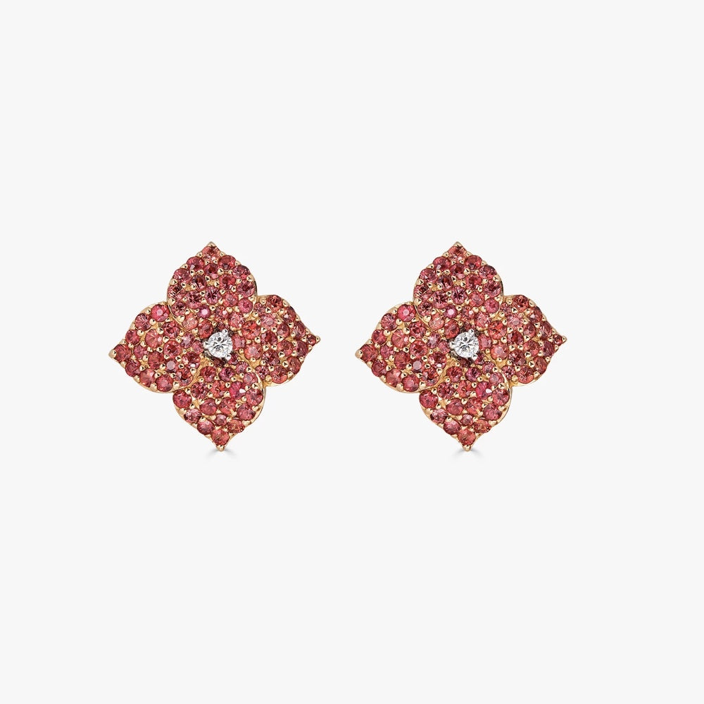 Mosaique Small Flower Earrings in Orange Sapphire