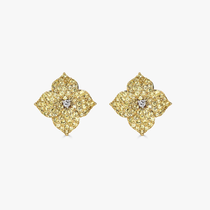Mosaique Small Flower Earrings in Yellow Sapphire