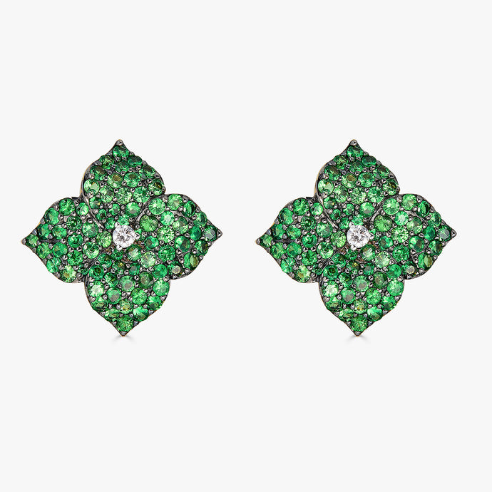 Mosaique Large Flower Earrings in Green Tsavorite Garnet