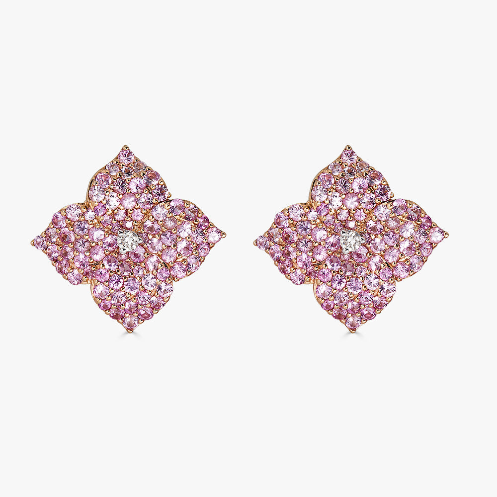Mosaique Large Flower Earrings in Pink Sapphire