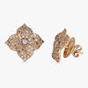 Mosaique Large Flower Earrings in Champagne Diamond