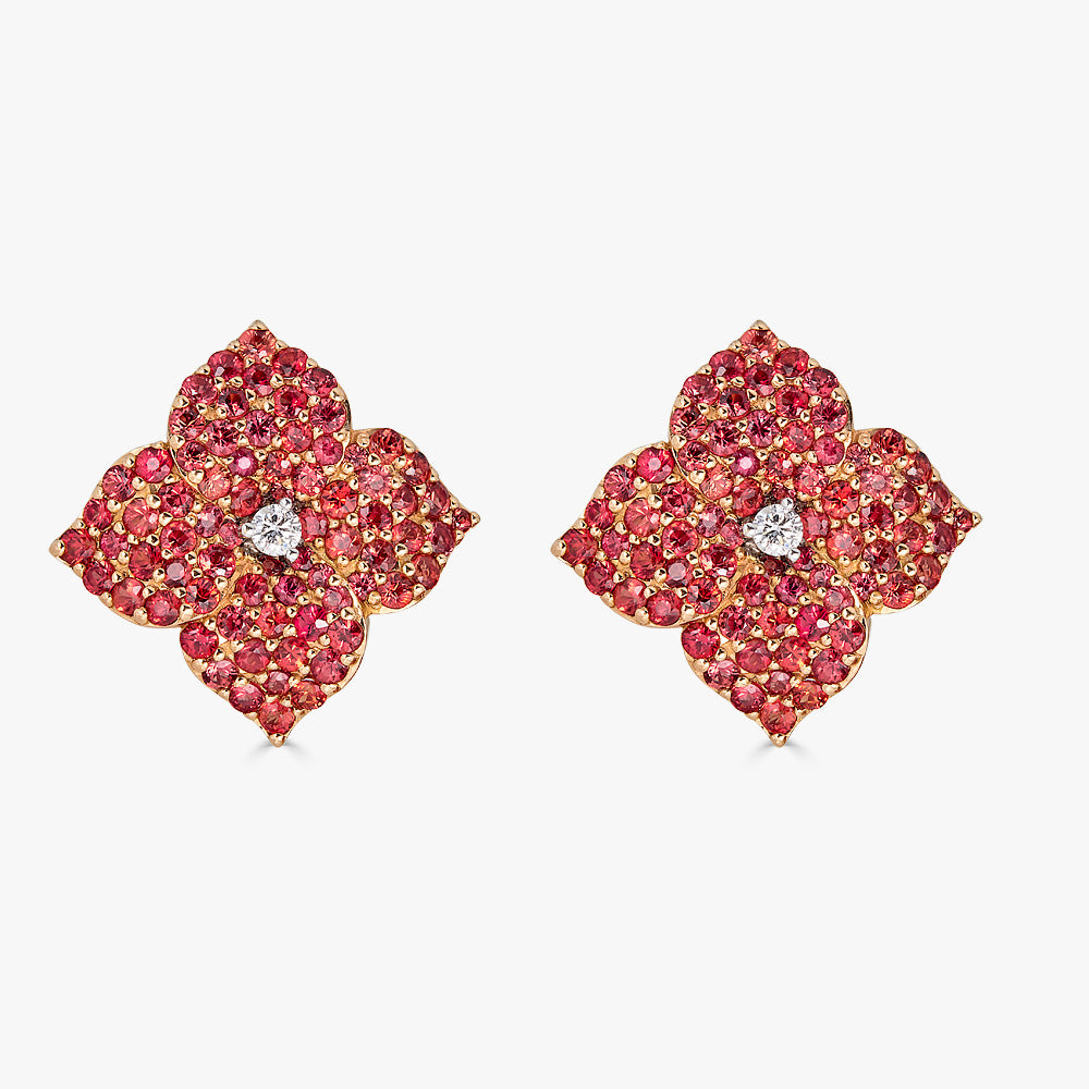 Mosaique Large Flower Earrings in Orange Sapphire