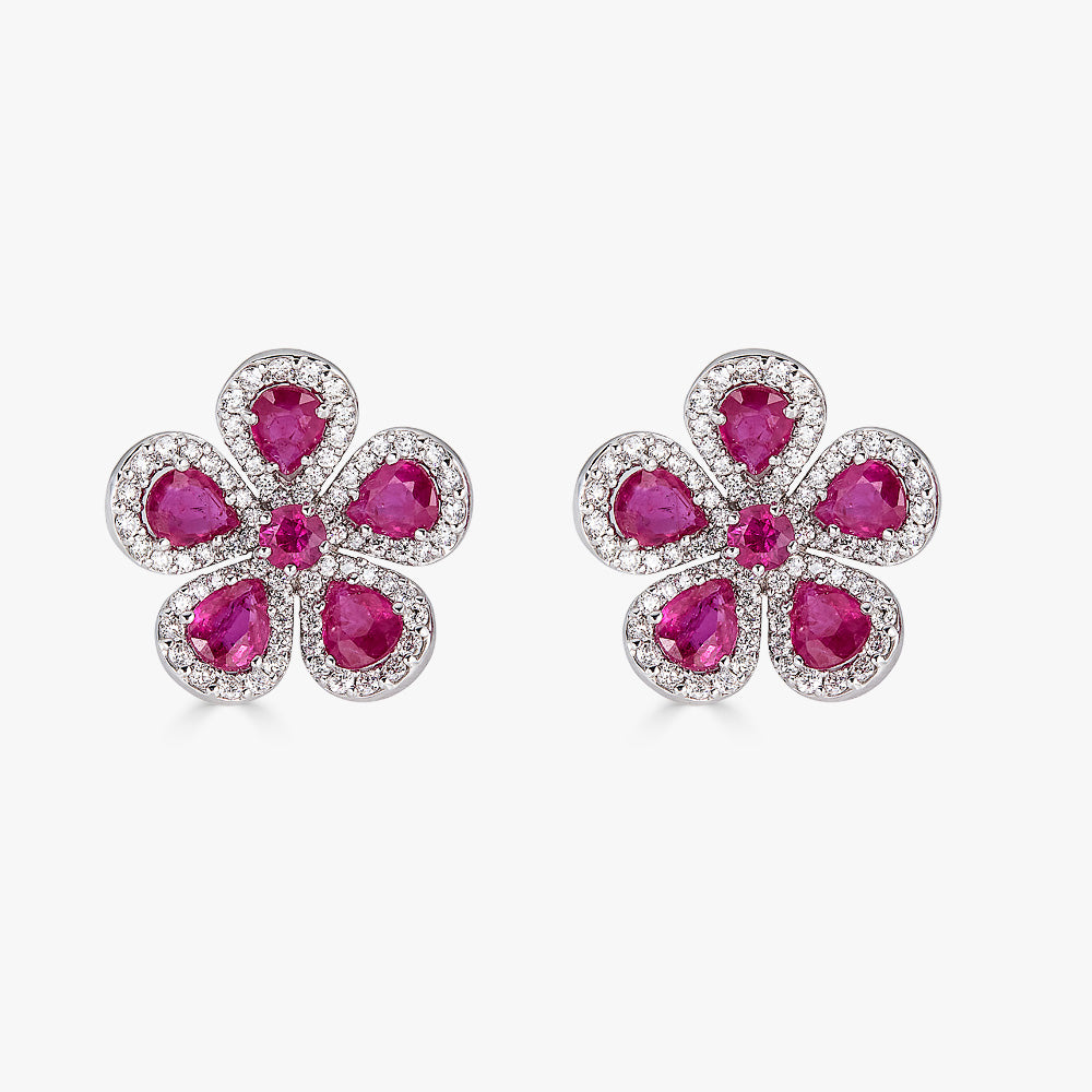 Classic Flower Earrings in Ruby