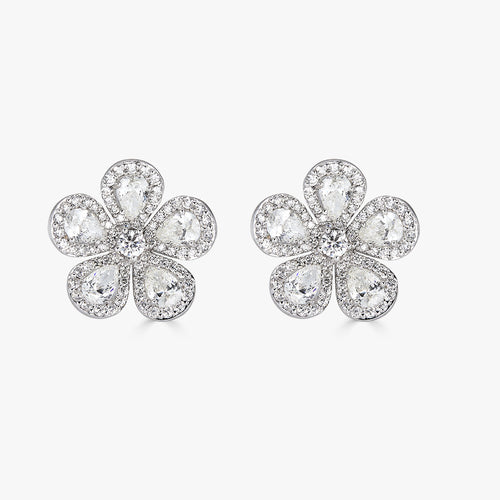 Classic Flower Earrings in Diamond