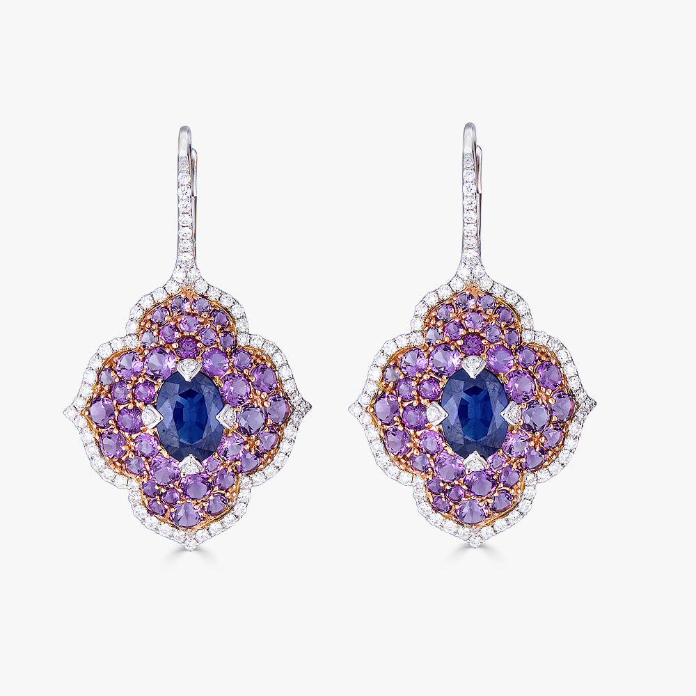 Pacha on Wire Earrings in Blue Sapphire and Amethyst