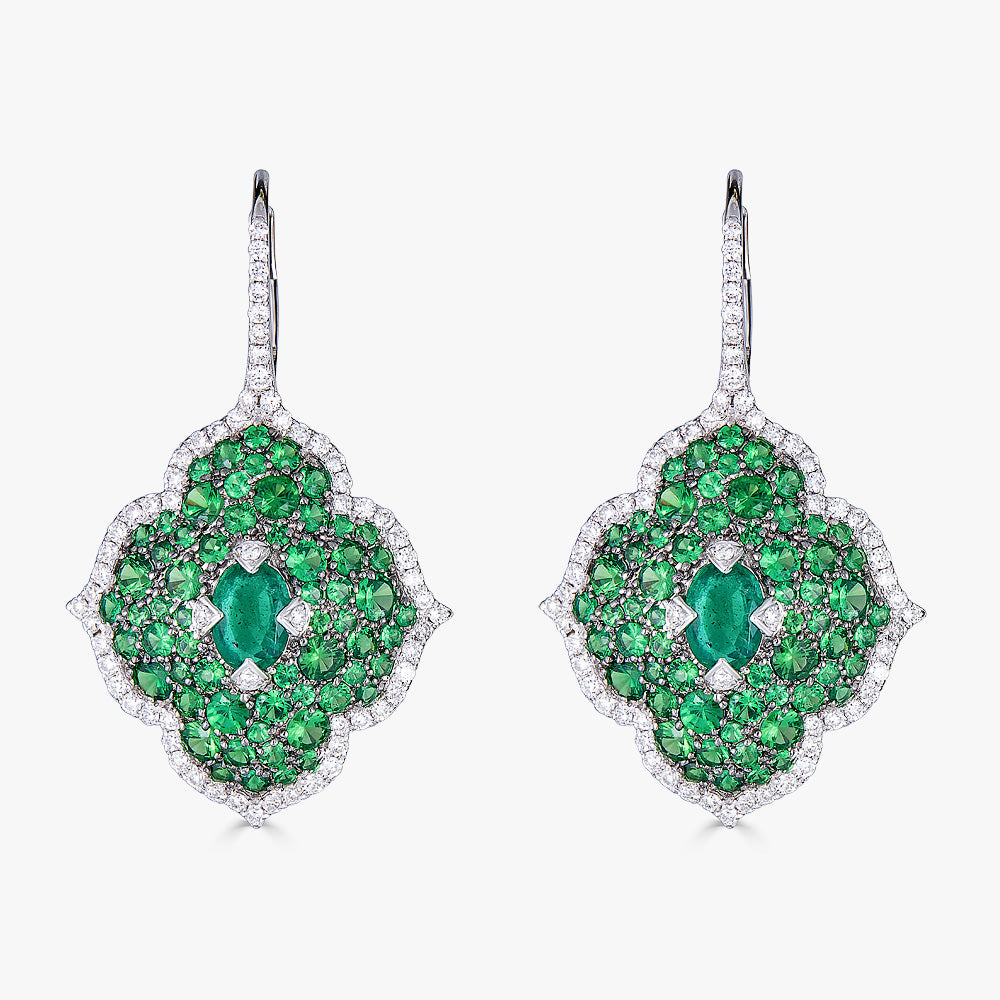 Pacha on Wire Earrings in Emerald and Green Tsavorite Garnet