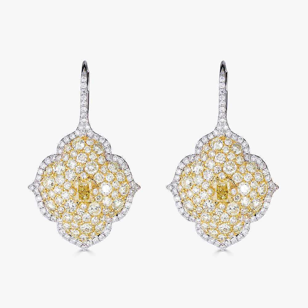Pacha on Wire Earrings in Yellow and White Diamonds