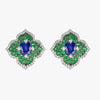 Pacha Earrings in Blue Sapphire and Green Tsavorite Garnet